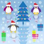 Xmas penguins — Stock Vector