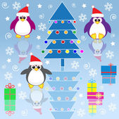 Xmas penguins — Stock Vector
