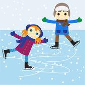 катание на коньках — Cтоковый вектор