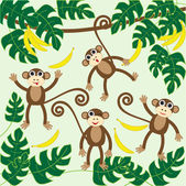 Monkeys — Stock Vector