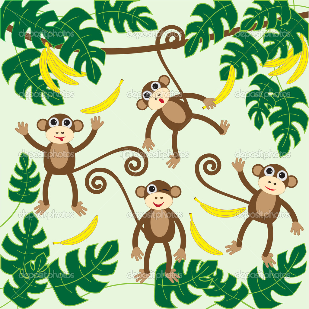 Four cute cartoon monkeys.vector illustration — Stock Vector #7865101