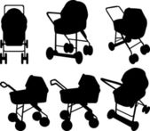 Baby strollers silhouettes — Stock Vector