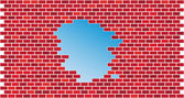 Brick wall with hole-vector — Vettoriale Stock