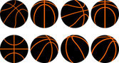 Basketball ball-8 different views — Stock Vector