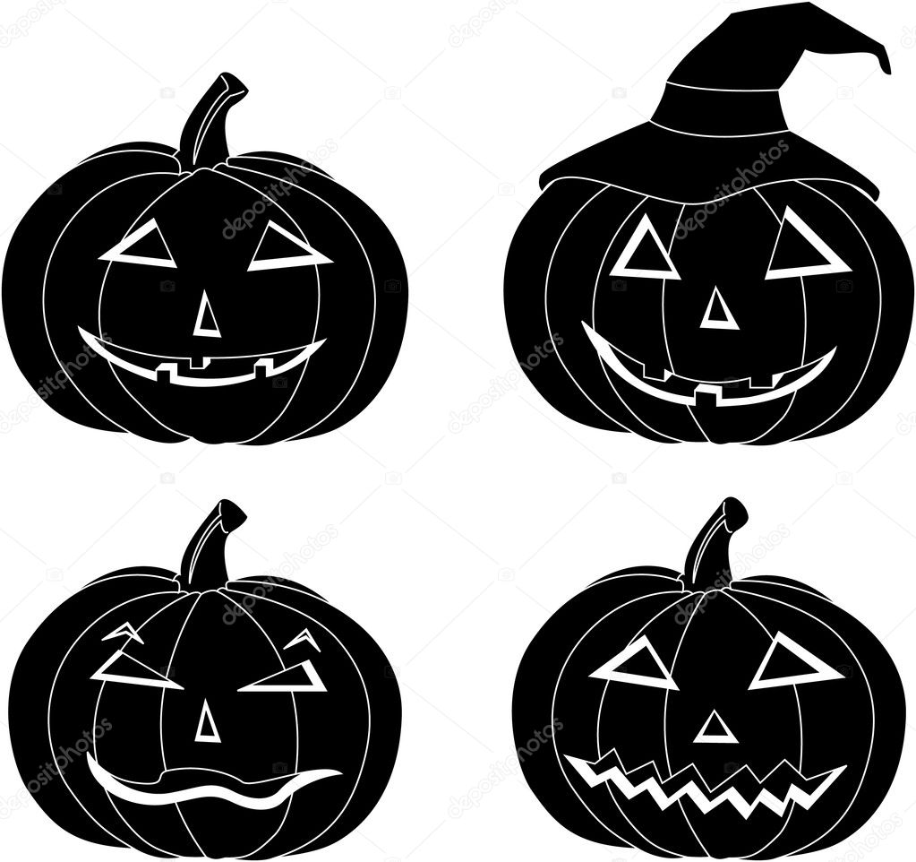 Vector halloween pumpkins with different look — Stock Vector #7304234