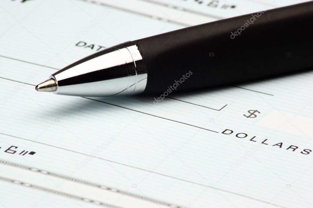 A blank check ready to be signed.  Stock Photo #7195414