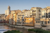Girona Cathedral and his colourful houses II — Stock Photo