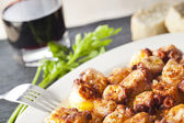 Galician octopus and red wine — Stock Photo