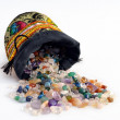 Semiprecious gems out of a sacket — Stock Photo
