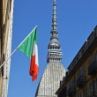 Mole Antonelliana and flag — Stock Photo
