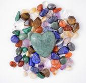 Green quartz heart — Foto Stock