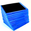 stack of bluray disk boxes — Stock Photo
