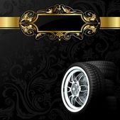 Car wheels on black background — Stock Photo