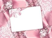 Card on pink background — Stock fotografie