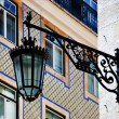 Lisbon. Tiles and lamps in Chiado - Stock Photo