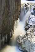 Small waterfall in winter — Stok fotoğraf