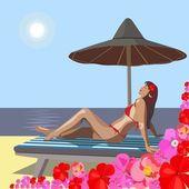 Girl on beach — Stock Vector