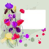 Irises and poppies — Stock Vector