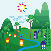 Village with houses and trees — Stock Vector