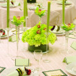 Ready for an indoor wedding reception with round tables — Stock Photo #7271599