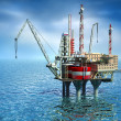 Drilling offshore Platform in sea. 3D image — Stok Fotoğraf #7242951