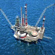 Offshore oilrig in the ocean. 3D image — Stockfoto