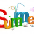 Word summer with colourful letters . 3D concept isolated on white — Foto Stock