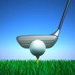 Golf ball and tee with target device. Hi quality 3D render. — Stock Photo #7243432