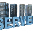 Stock Photo: Hosting word and Servers