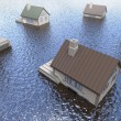 Stock Photo: Flooded homes