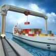 Crane lifting cargo container and loading the ship. — Stock Photo