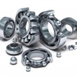 Royalty-Free Stock Photo: Sliced Bearings set and details. 3D image.