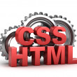 Stock Photo: Html, css coding concept on white