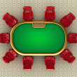 Poker table with chairs top view - Stock Photo