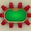 Poker table with chairs top view — Stock Photo
