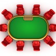 Poker table with chairs top side view isolated - Stock Photo
