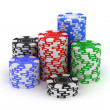 Poker chips - isolated on white — Stok fotoğraf