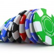 Stock Photo: Poker gambling chips isolated on white