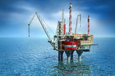 Drilling offshore Platform in sea. 3D image — Stok fotoğraf