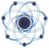 Atom with orbits. 3D image. — Stock Photo