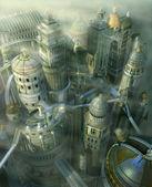 Fantasy 3d form vergangenheit auf zukunft — Stockfoto