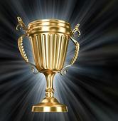 Damalı kupa altın kupa, sembollerin kazanma geçti — Stok fotoğraf