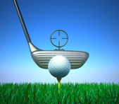 Golf ball and tee with target device — Stock Photo