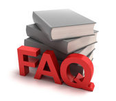 Icon of FAQ with books behind — Stock Photo