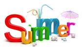 Word 夏天与色彩缤纷的信件。3d 概念上白色隔离 — 图库照片