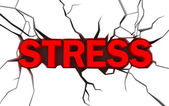 Word stress in red color with cracks over white — Stock Photo