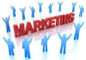 Personajes azules alrededor de la palabra marketing en color rojo aislado en blanco — Foto de Stock