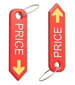 Red trinket with the word price and yellow arrow — Foto Stock