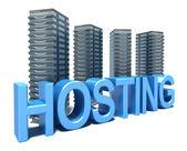 Słowo hosting i serwery — Zdjęcie stockowe