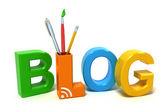 Blog di parola con lettere colorate. concetto 3d su sfondo bianco. — Foto Stock